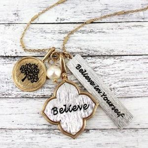 "Brushed Two-Tone ""Believe"" Cluster Charm Necklace"